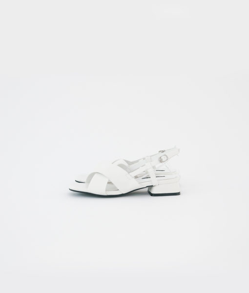 AnnaKastle Womens Criss Cross Slingback Sandals White