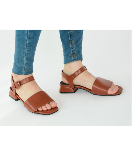 AnnaKastle Womens Vegan Leather Single Strap Sandals Brown