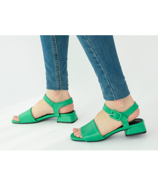AnnaKastle Womens Vegan Leather Single Strap Sandals Green