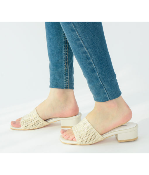 AnnaKastle Womens Woven Crochet Low Heel Mules Beige