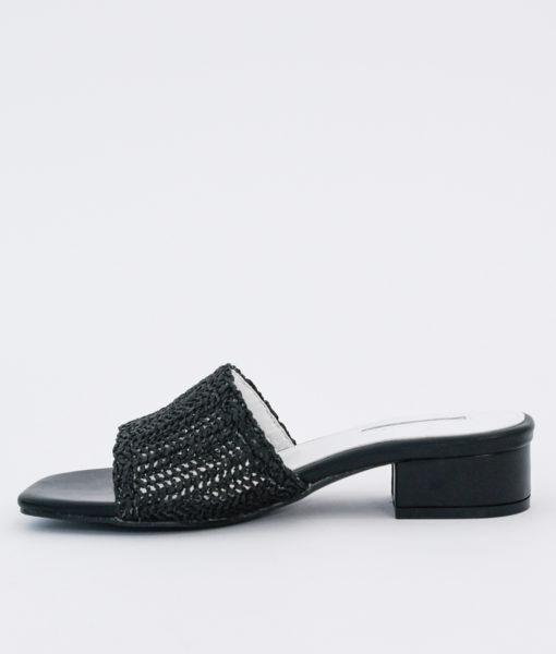 AnnaKastle Womens Woven Crochet Low Heel Mules Black
