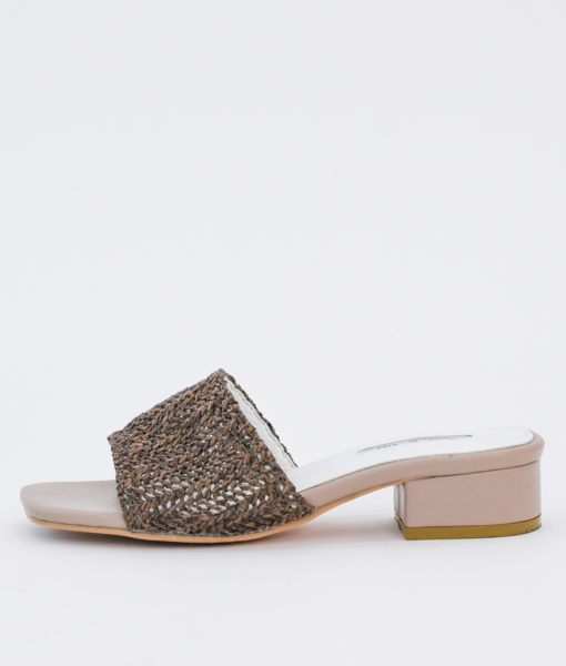 AnnaKastle Womens Woven Crochet Low Heel Mules Brown