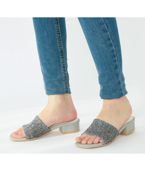 AnnaKastle Womens Woven Crochet Low Heel Mules Gray