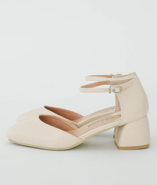 AnnaKastle Womens d'Orsay Ankle Strap Pumps Beige