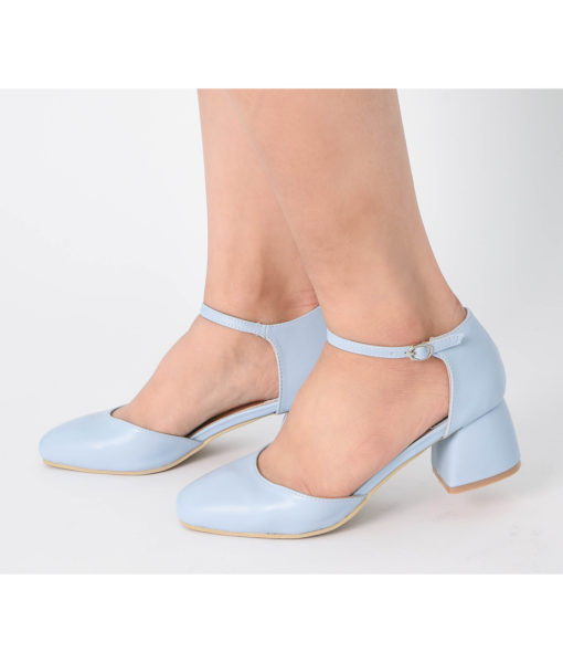 AnnaKastle Womens d'Orsay Ankle Strap Pumps Sky Blue