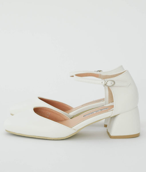 AnnaKastle Womens d'Orsay Ankle Strap Pumps White