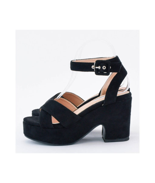 AnnaKastle Womens Vegan Suede Ankle Strap Platform Sandals Black