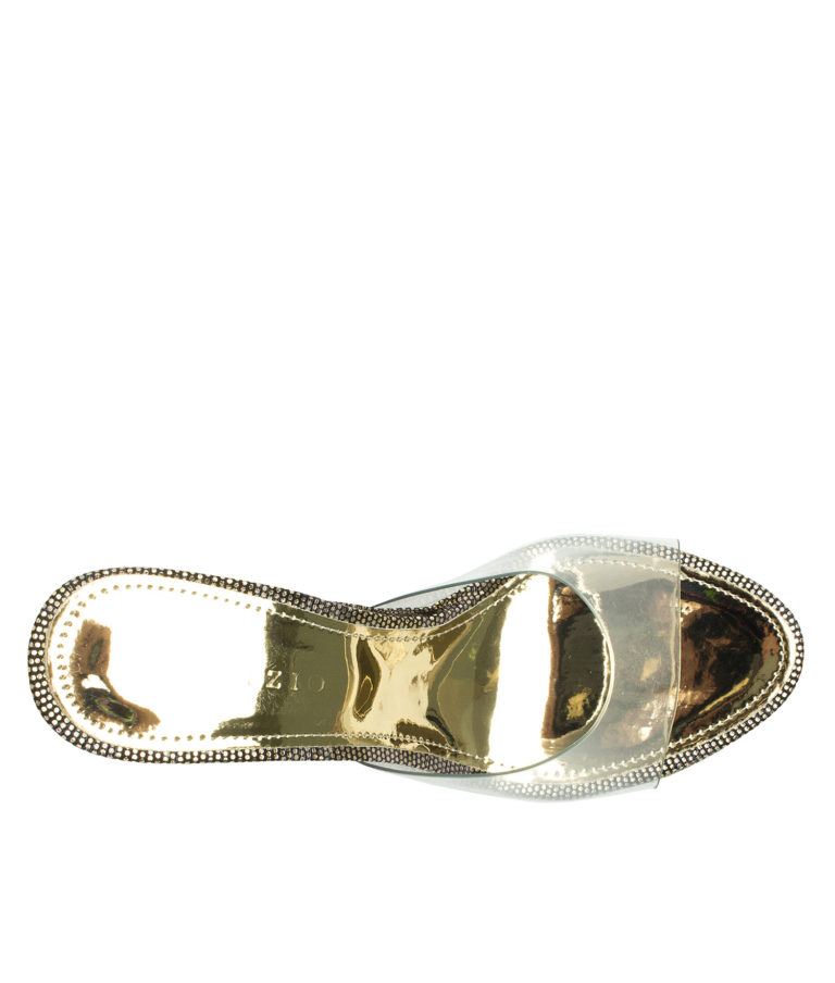 AnnaKastle Womens Glittery Clear High Heel Mules Gold