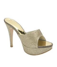 AnnaKastle Womens Glittery High Heel Slide Sandals Gold Glitter