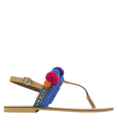 AnnaKastle Womens Boho Pom Pom Thong Sandals Blue Fringe