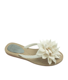 AnnaKastle Womens Big Flower Flip Flops Beach Sandals Ivory