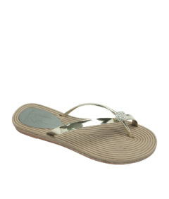 AnnaKastle Womens Twinkle Toe Ring Flip Flops Gold