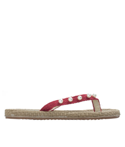 AnnaKastle Womens Woven Strap Pearl Flip Flops Red