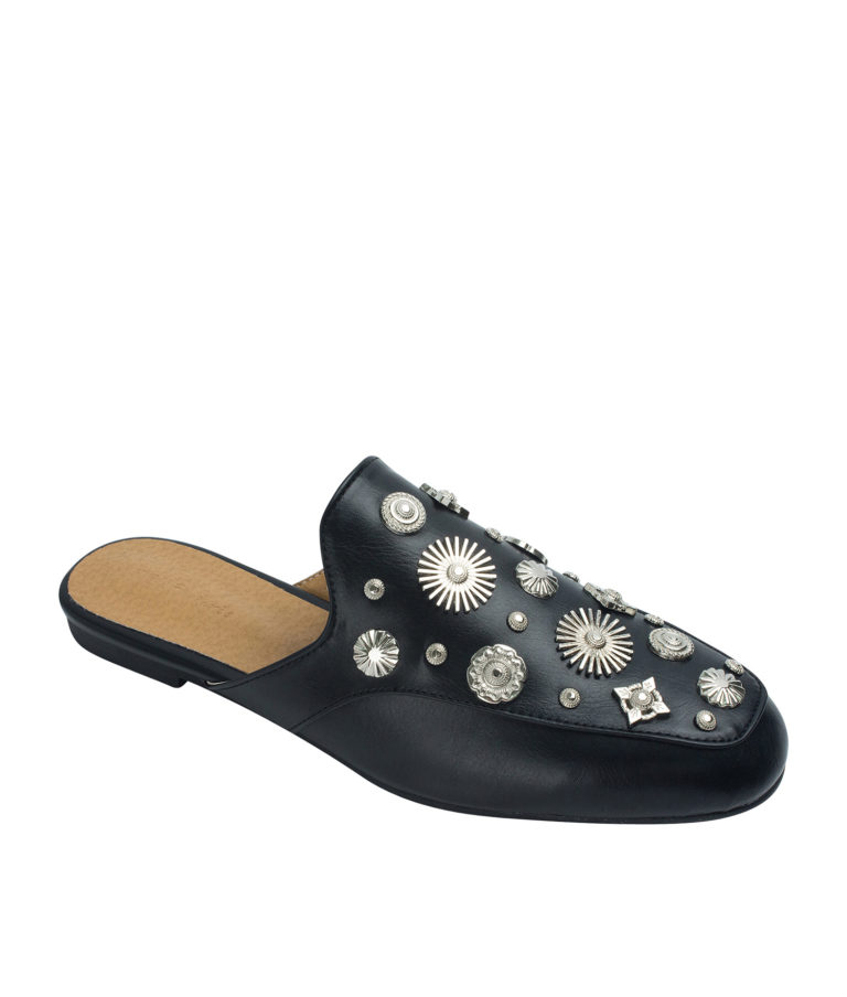 AnnaKastle Womens Multi-Shaped Studs Backless Loafer Mules Black
