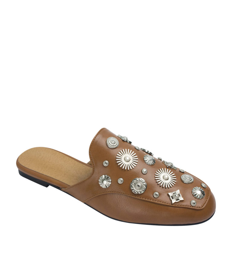 AnnaKastle Womens Multi-Shaped Studs Backless Loafer Mules Brown