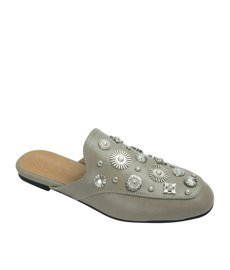 AnnaKastle Womens Multi-Shaped Studs Backless Loafer Mules Pale Taupe