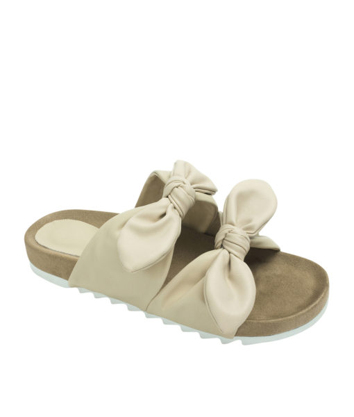 AnnaKastle Womens Double Knotted Bow Slide Sandals Beige