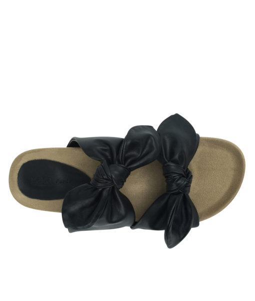 AnnaKastle Womens Double Knotted Bow Slide Sandals Black