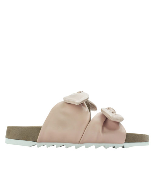 AnnaKastle Womens Double Knotted Bow Slide Sandals Pink
