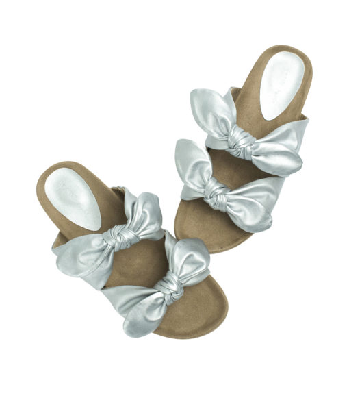 AnnaKastle Womens Double Knotted Bow Slide Sandals Silver