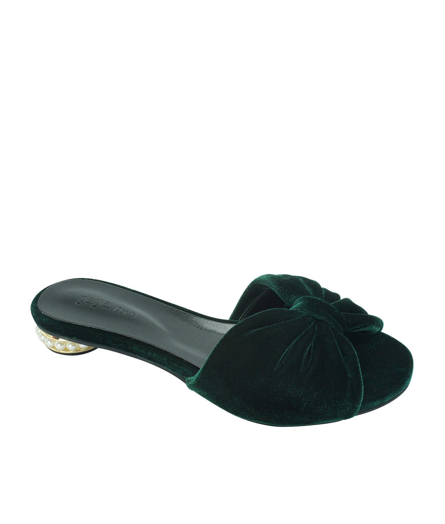 AnnaKastle Womens Faux Pearl Heel Velvet Bow Slides Dark Green