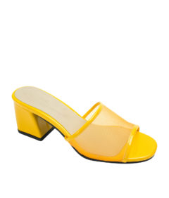 AnnaKastle Womens Sheer Mesh Mule Sandals Yellow