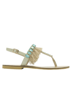 AnnaKastle Womens Fringe Beaded Thong Sandals Beige