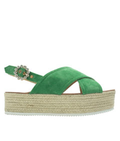AnnaKastle Womena Crisscross Platform Espadrille Sandals Green