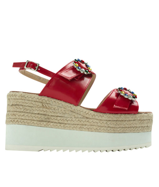 AnnaKastle Womens Jewelled Buckle Espadrille Wedge Sandals Red