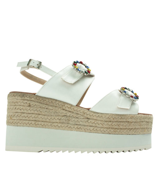 AnnaKastle Womens Jewelled Buckle Espadrille Wedge Sandals White