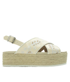 AnnaKastle Womens Embroidery Crisscross Platform Slingbacks Vanilla