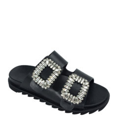 AnnaKastle Womens Jewelled Buckle Double Band Slides Black