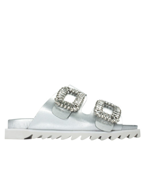 AnnaKastle Womens Jewelled Buckle Double Band Slides Silver