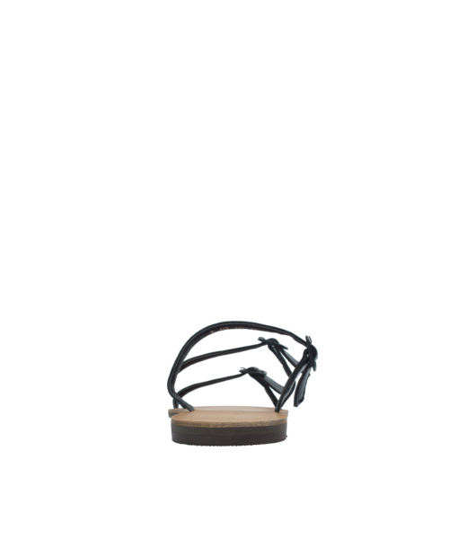 AnnaKastle Womens Buckled Strappy Slide Sandals Black