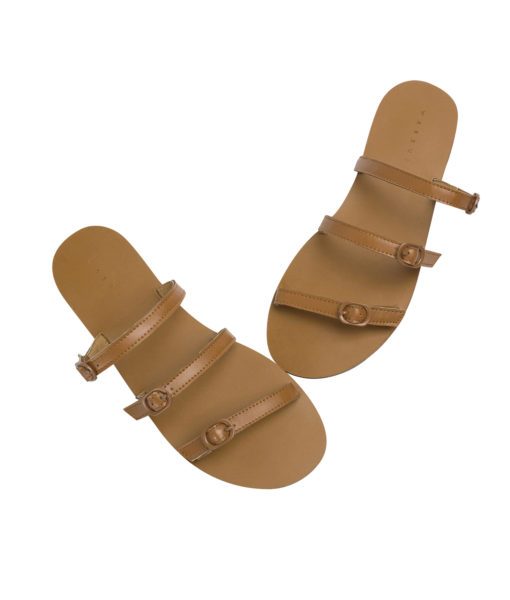 AnnaKastle Womens Buckled Strappy Slide Sandals Brown