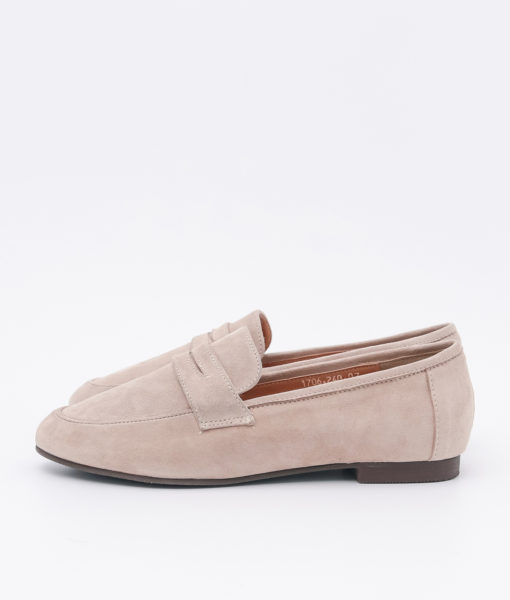 AnnaKastle Womens Cute Suede Penny Loafers Beige
