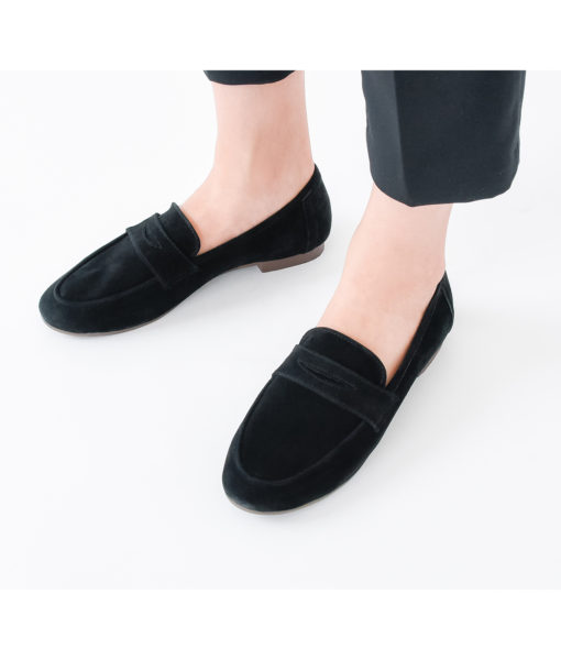 AnnaKastle Womens Cute Suede Penny Loafers Black