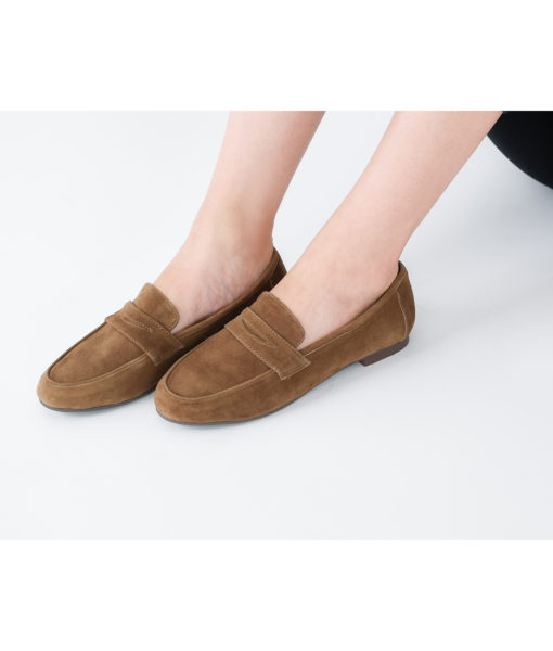 AnnaKastle Womens Cute Suede Penny Loafers Brown