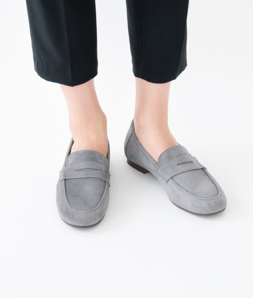 AnnaKastle Womens Cute Suede Penny Loafers Gray