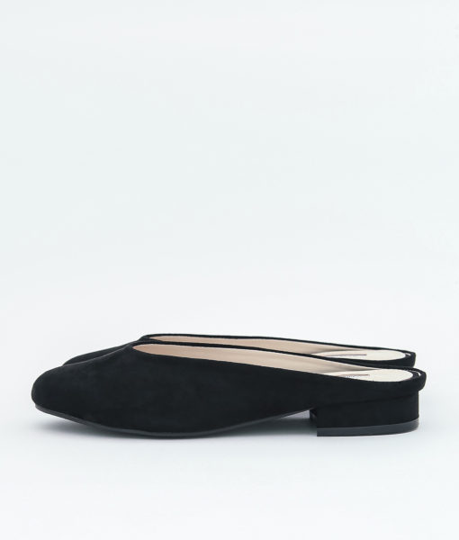 AnnaKastle Womens Faux Suede Mule Slides Black