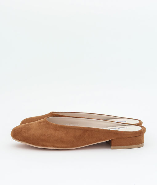 AnnaKastle Womens Faux Suede Mule Slides Brown
