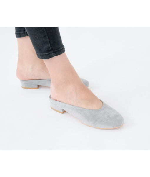 AnnaKastle Womens Faux Suede Mule Slides Gray