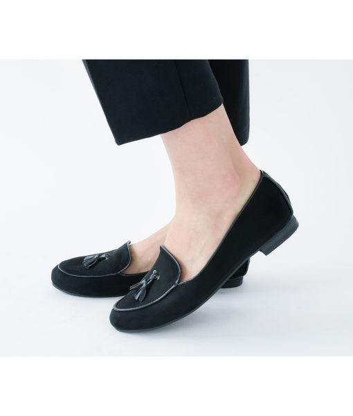 AnnaKastle Womens Cute Faux Suede Tasseled Loafers Black