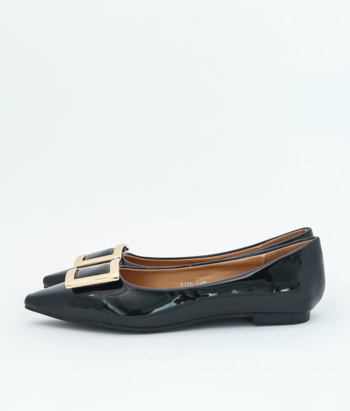 AnnaKastle Womens Patent Pointed Toe Ballet Flats Black