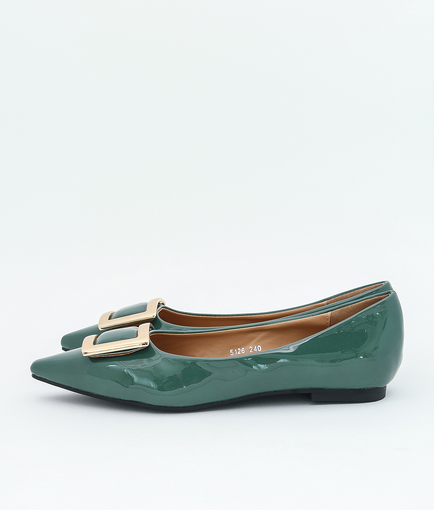 AnnaKastle Womens Patent Pointed Toe Ballet Flats Green
