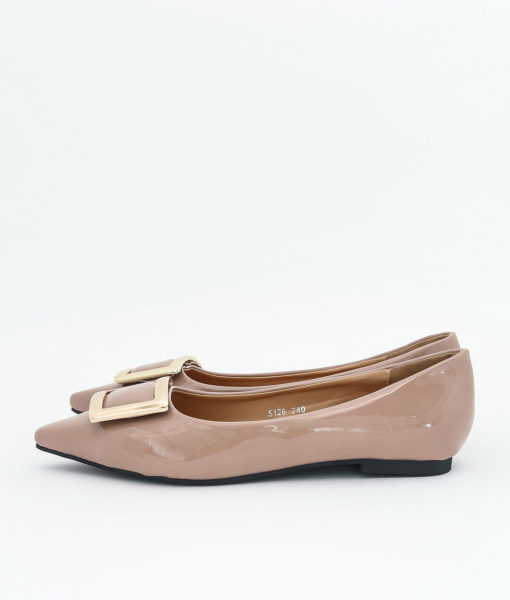 AnnaKastle Womens Patent Pointed Toe Ballet Flats Pink