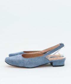 AnnaKastle Womens Comfy Vegan Suede Slingback Flats Blue