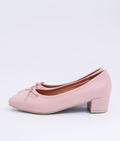 AnnaKastle Womens Bow Front Low Block Heel Pumps Pink