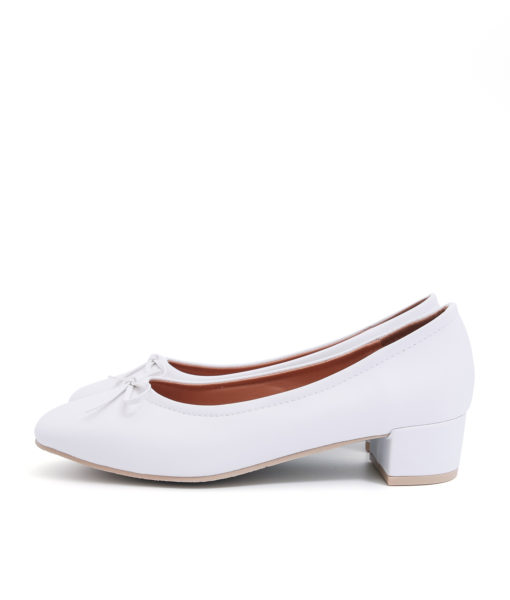 AnnaKastle Womens Bow Front Low Block Heel Pumps White