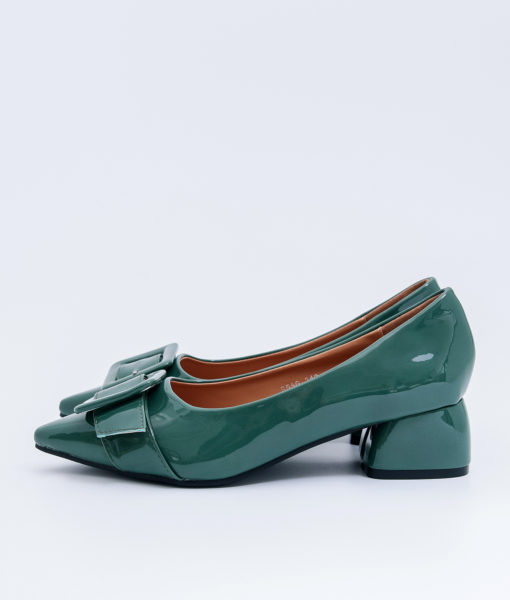 AnnaKastle Womens Big Buckle Patent Pointed Toe Pumps Green